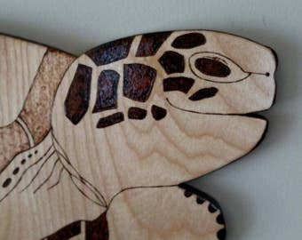 Wood-burned Loggerhead Sea Turtle Wall Hanging - Free Priority Mail Shipping to Continental US