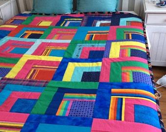 Rainbow Quilt, 180x155 cms.