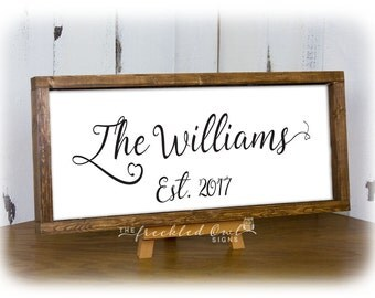 Black and White Wedding Gifts, Last Name Sign, Anniversary Gifts, Framed Family Name and Established, Canvas Wood Sign with Frame 8X20