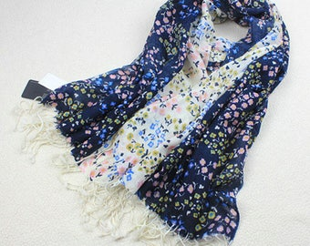 100% Wool Scarf Light Weight Floral Scarves Tassel Fringed Scarf Women Wrap Shawl Pashmina Blue Creamy White Winter Scarves