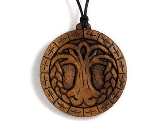 Árbol celta de la vida collar - colgante celta tallado, celta colgante de madera, alrededor de árboles, encanto Unisex de madera intrincado pagano collar