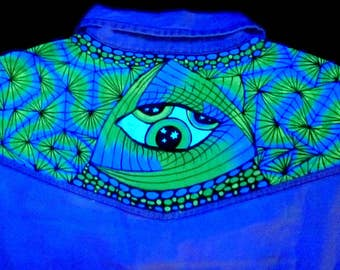 Jeans dress psychedelic eye, 34/XS