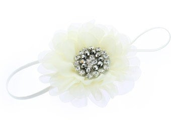 Baby/Toddler Vintage Jeweled Chiffon Flower Skinny Headband - Ivory