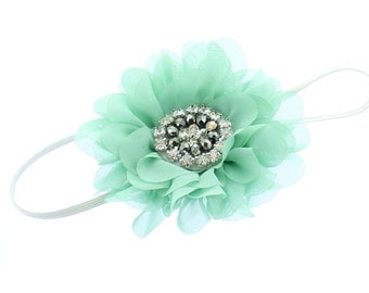 Baby/Toddler Vintage Jeweled Chiffon Flower Skinny Headband - Sea Foam