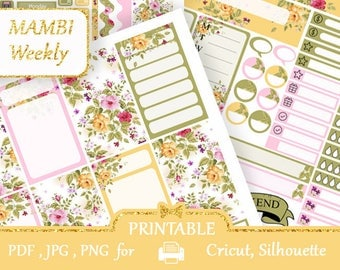 MAMBI Happy Planner 2018 Green and Yellow Flowers Weekly kit Planner Stickers KIT Printable Instant Download Floral Silhouette Cut files
