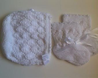 Crochet Bonnet And Booties Set White