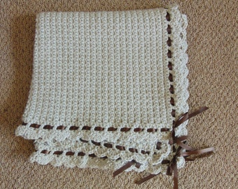 "Gender Neutral, Crochet Baby Blanket - ""Tan & Brown""  Baby Blanket, Baby Boy, Baby Girl, Baby Shower Gift"