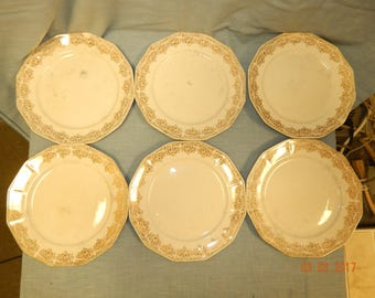 "ROYAL CHINA-Warranted 22k-GOLD Duane Pattern 9"" Dinner Plates National Brotherhood of Operative Potteries 6 Plates Total"