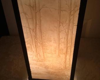 Vintage Box Accent Table lamp, table lamp, Bakelite embossed panels