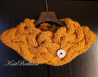 Knit Cowl Infinity Scarf Gold Basket Weave Cowl