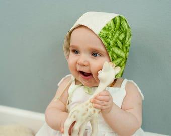 Modern Bonnet, 6-12 Months, Peas, Lace, Classic Baby Bonnet,  Heirloom, Baby Shower Gift, Photo Prop, Reversible Modern Bonnet