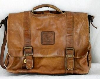 Vintage Geoffrey Beene Brown Leather Shoulder Messenger Laptop Bag