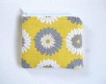 EMF Shielding Homeopathy Storage Zippered Bag (Yellow Grey Floral)
