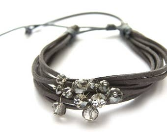 Bracelet, crystals, wool cord, 19cm, Grey, jewelry 1 pc, gift for her