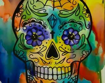 Watercolor Sugar Skull Poster Print