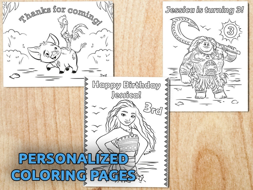 moana birthday party coloring pages personalized printable