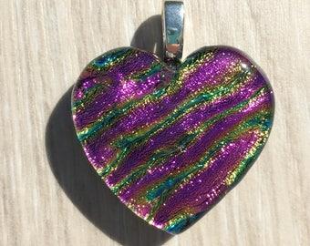 Dichroic Fused Glass Pendant - Pink Ripple Heart Pendant