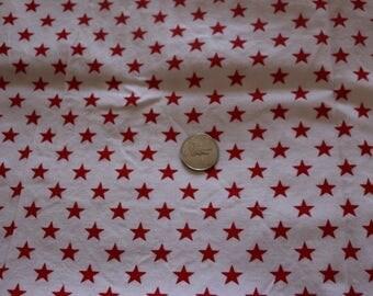 21 Vintage Bicentennial fabric bright red stars on white ground  21