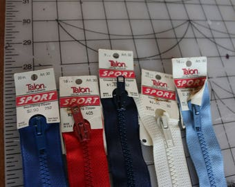 29  Z-5 Vintage new with tags talon sports zippers Separating zippers