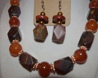 Stone beads with Copper Accents  Jewelry Set