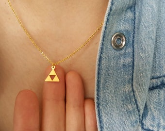 18k Gold Triangle Necklaces,triforce necklace,Geometric necklace,Hallow necklace,Birthday gift,Bridesmaid Gift,Christmas gift