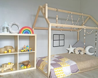 Montessori bed, Toddler bed house frame, floor bed, wood bed frame, birch wooden house, playhouse, cot, wood house bed