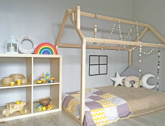 montessori bed toddler bed house frame floor bed wood bed. Black Bedroom Furniture Sets. Home Design Ideas