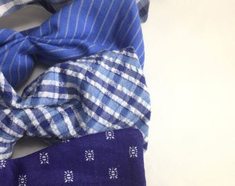 Blue Bow Ties, Blue Mismatched Bow Tie, Blue Bow Tie, Self Tie Bow Tie, Freestyle Bow Tie, Spring Bow Tie, Derby Bow Tie