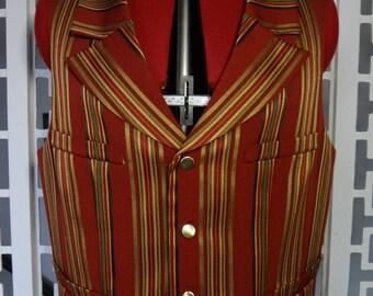 Vintage golden stripes vest, steampunk, victorian - large size