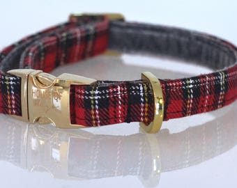 The Perry - Dog Collar, Red Tartan