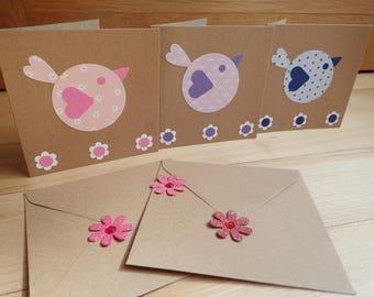 Handmade Notelets - Note Cards - Thank you - invitation - acceptance - Party  Notelets - Set Of 5 Blank Notelets - Bird Design Notelets