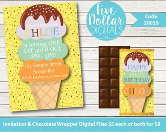 Ice Cream Personalised Digital Birthday Invitation & Chocolate Candy Bar Wrapper