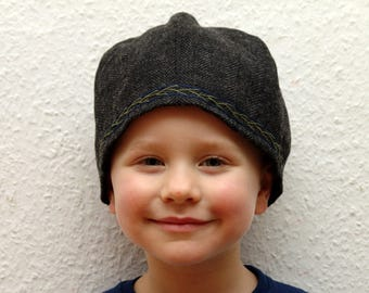 CAP, Viking, RUS, embroidered, herringbone, Gr. 55, wool, linen, children