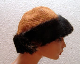CAP, Viking, RUS, fur Fox, Gr. 57, wool, herringbone, linen