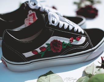 Vans Old Skool Custom - 'Rose Patch' - EUR 34.5 - 47 Unisex -  Rosen Sk8 Hi Sneaker Tommy Hilfiger Ralph Lauren Helly Hansen Gucci