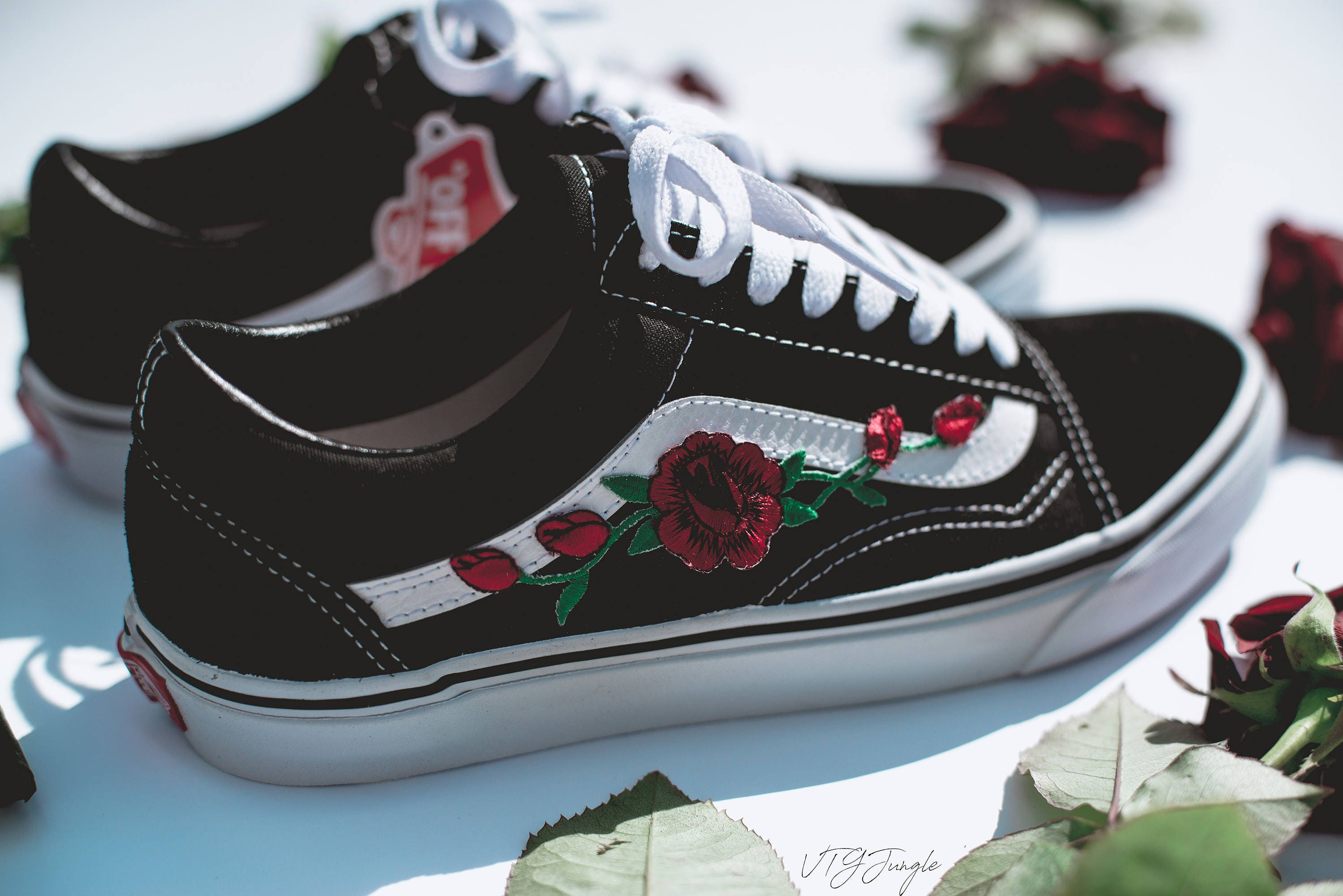 VANS OLD SKOOL CUSTOM - 'ROSE PATCH' - EUR 34.5 - 47 UNISEX - ROSEN ...