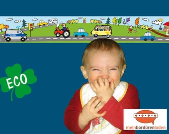 ECO kids trim: vehicles police - borders for children, border for allergy sufferers, wall border, nonwoven, wall trims, police