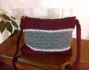 Crochet purse burgundy and gray NMSU Aggies