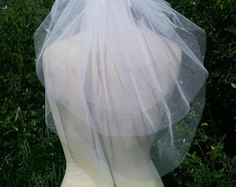 4 Tiers Wedding Veil. Mid Hip Length Bridal Veil. Wedding Veil.