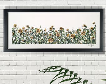 Sunflower garden prints of original artwork, watercolor painting, yellow flowers watercolor,spring art, acollectibles, wall art of a print.