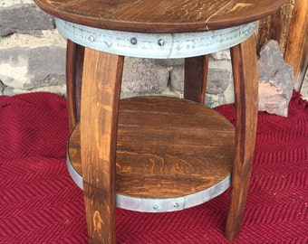 Wine Barrel End Table with Steel Accents-Wine Barrel End Table-Side Table-Living Room Table-Barrel Table-Stave Table-Patio Table-Wood Table