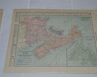 1915 Antique Maritime Provinces of Canada, New Brunswick, Nova Scotia, Prince Edward Island, Newfoundland