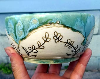 Carved Turquoise Spring Bowl