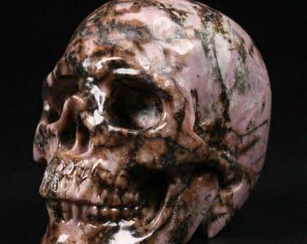 """2.0""""Pink & Black Rhodonite Carved Crystal Skull"""