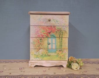 Upcycled Shabby Chic Light Pink and Floral Distressed Jewelry Box - Charming Country Cottage Heirloom Box with Secret Garden Graphics