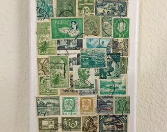 Green Postage Stamps 5X7 Canvas