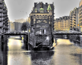 """limited artistic Photography """"backyards"""" Hamburg by Thomas de Bur Germany 100% cotton canvas gallery photograph certificate"""