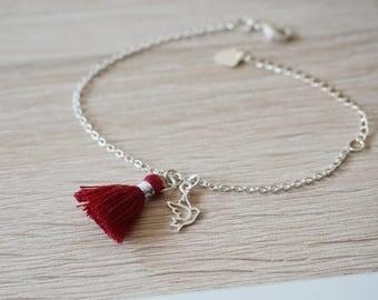 Pompom bird in 925 silver bracelet - trendy design