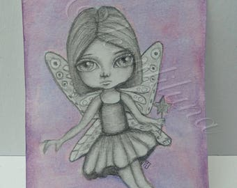 ACEO ATC fairy Original Artwork graphite pencil and watercolor painting big eye art, butterfly wings, artist trading card