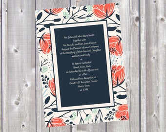 Red Green and Blue Floral Wedding Invitation - Custom Invitation Suite - Printable